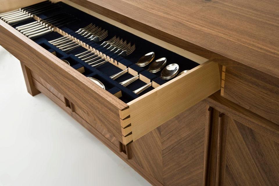 Walnut Sideboard - cutlery drawer