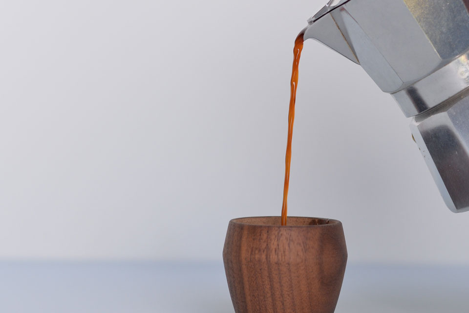 Walnut Espresso Cup - Pouring