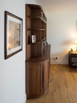 Bespoke Bookcase in Walnut - side view