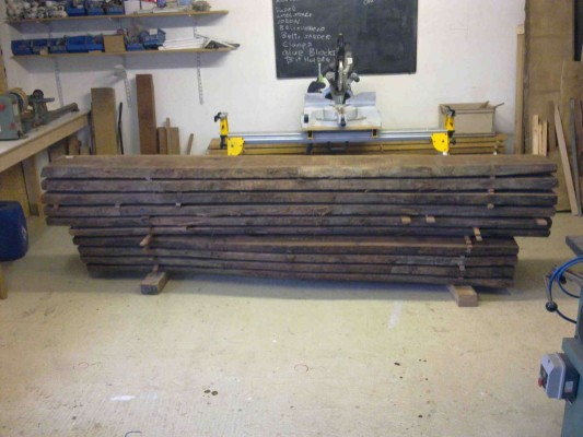 The Walnut boards stacked as cut from log