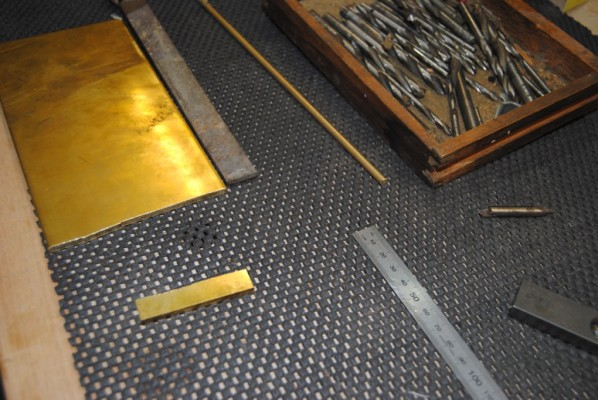 Brass sheet stock and bar ready for cutting