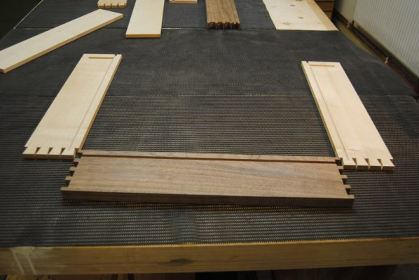 Cut dovetails laid out ready for glueing