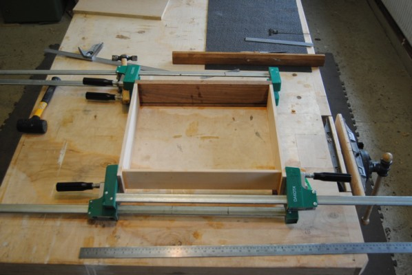 Drawer clamped up for gluing