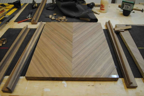 Finished sideboard veneered door panels ready for handles