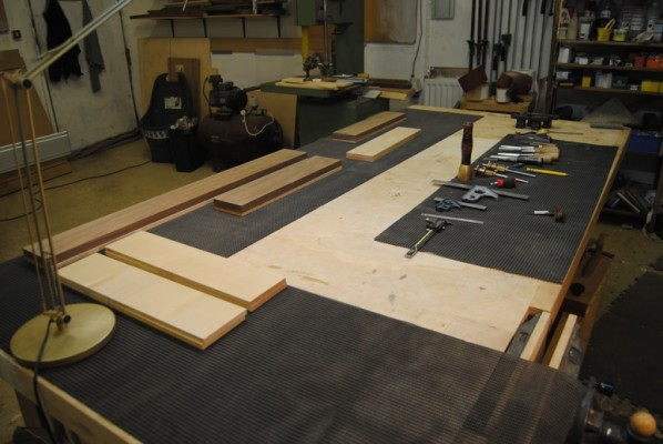 Fronts, sides and back ready for marking out and cutting dovetails