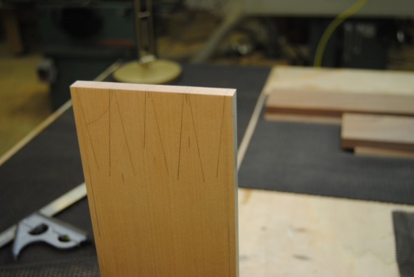 Dovetail pins marked out ready for cutting
