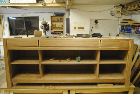 Sideboard drawers in place