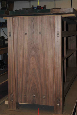 Sideboard side panel with wedged through tenons