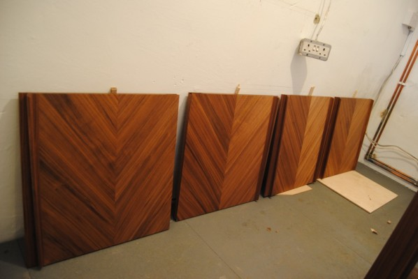 Veneered panels drying between coats