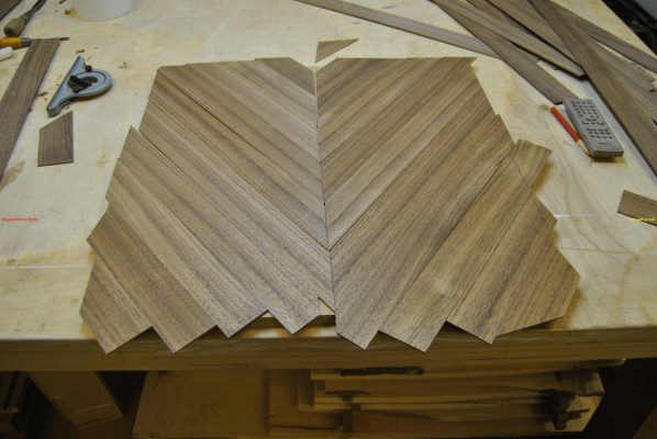 Veneers cut at 52 degrees then glued together in pairs