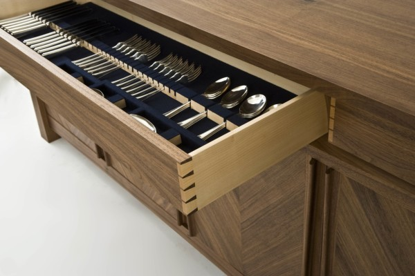 Walnut Sideboard - Cutlery Drawer
