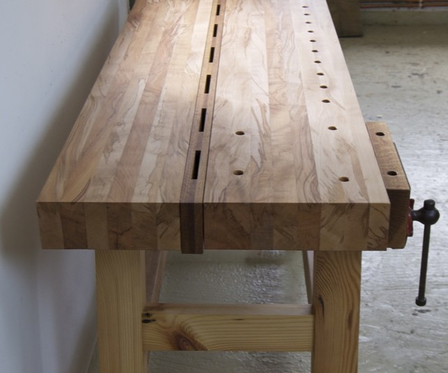 flamed beech woodworking workbench top
