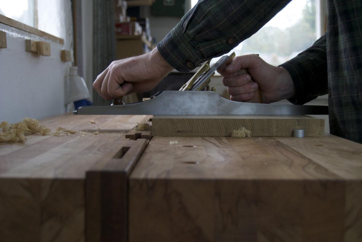 split top woodwork bench with workstop