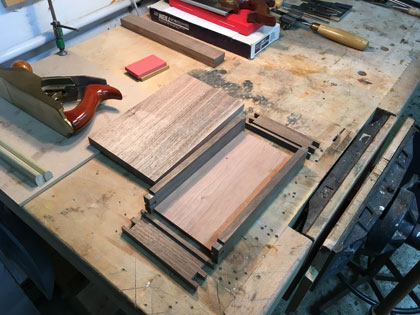 professional long-term furniture making course tools and work pieces on workbench